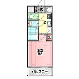 クレアート大阪トゥールビヨン 7階1Kの間取り