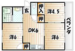 コーポ津留I[2階]の間取り