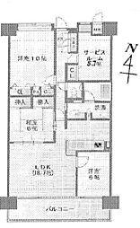 ポレスターブロードシティ倉敷弐番館[4階]の間取り