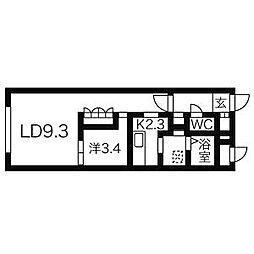 札幌市営南北線 すすきの駅 徒歩5分の賃貸マンション 3階1LDKの間取り