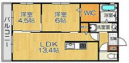 オーラノールド 3階2LDKの間取り