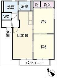 ラベンダ−虹 B棟[1階]の間取り