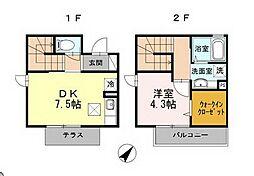 ガーデンプレイスIII 1階1DKの間取り