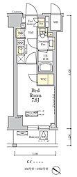 東京メトロ南北線 麻布十番駅 徒歩7分の賃貸マンション 8階1Kの間取り