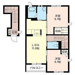 スクエアガーデン C[2階]の間取り