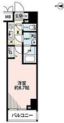 東京メトロ千代田線 湯島駅 徒歩1分の賃貸マンション 6階1Kの間取り