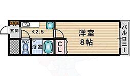 阪急千里線 千里山駅 徒歩19分の賃貸マンション 3階1Kの間取り