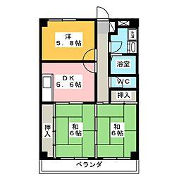 メゾンエクセル日比津[3階]の間取り