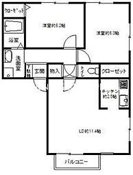 フォブールTAKA D棟[2階]の間取り