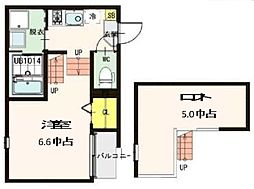 JR仙石線 中野栄駅 徒歩4分の賃貸アパート 2階1Kの間取り