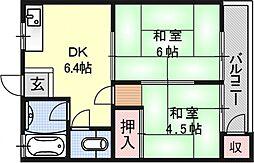 大宅マンション[202号室号室]の間取り
