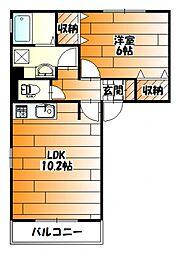 広島県広島市安佐南区中須1丁目の賃貸アパートの間取り