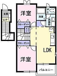 埼玉県北葛飾郡松伏町田中1丁目の賃貸アパートの間取り