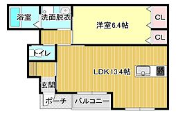 リーベ 1階1LDKの間取り