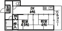 大阪府大阪市住吉区苅田10丁目の賃貸マンションの間取り