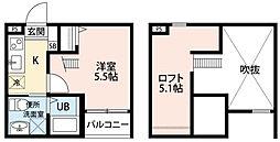 愛知県名古屋市中川区愛知町の賃貸アパートの間取り