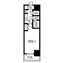 名古屋市営鶴舞線 浅間町駅 徒歩5分の賃貸マンション 10階1Kの間取り