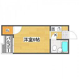 リバティ住之江[2階]の間取り