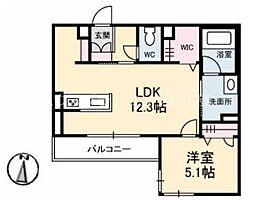 広島電鉄宮島線 修大協創中高前駅 徒歩4分の賃貸マンション 3階1LDKの間取り