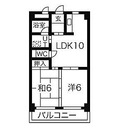 愛知県名古屋市南区戸部下1丁目の賃貸マンションの間取り