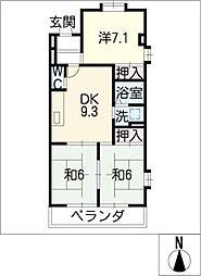 ハイツ平田[3階]の間取り