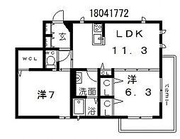 フェリオ南田辺[2階]の間取り