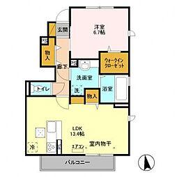仮称)D-roomTV明原[101号室号室]の間取り