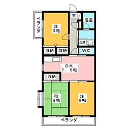 静岡県焼津市小土の賃貸マンションの間取り