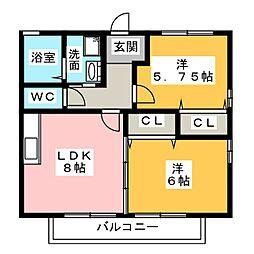 愛知県名古屋市中川区江松5の賃貸アパートの間取り