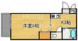 下堤谷口マンション[203号室号室]の間取り