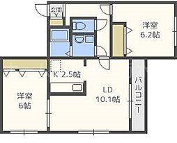 CHEZ−soi ouest(シェソワウエスト)[4階]の間取り