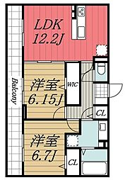 京成千原線 ちはら台駅 バス13分 かずさの杜入口下車 徒歩2分の賃貸アパート 2階2LDKの間取り