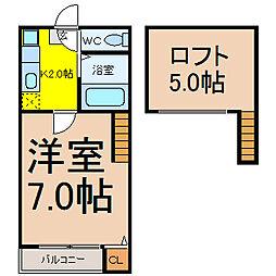 愛知県名古屋市守山区太田井の賃貸アパートの間取り