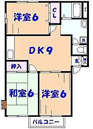 コスモハイツB[1階]の間取り