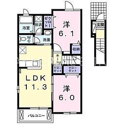 ロイヤルオークB[2階]の間取り