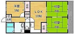 大阪府枚方市新町1丁目の賃貸マンションの間取り