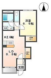 メゾンセレストB[1階]の間取り