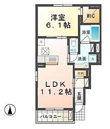 愛知県北名古屋市井瀬木鴨の賃貸アパートの間取り
