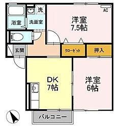 広島県三原市本郷南5丁目の賃貸アパートの間取り