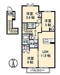 ボナール[2階]の間取り