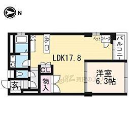 京都地下鉄東西線 京都市役所前駅 徒歩2分の賃貸マンション 2階1LDKの間取り