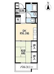 UR高槻・阿武山十番街 1階1DKの間取り