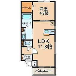 福岡県福岡市博多区竹下1の賃貸アパートの間取り