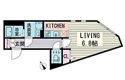 都営大江戸線 赤羽橋駅 徒歩3分の賃貸マンション 4階ワンルームの間取り