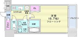 仙台市営南北線 北四番丁駅 徒歩7分の賃貸マンション 11階1Kの間取り