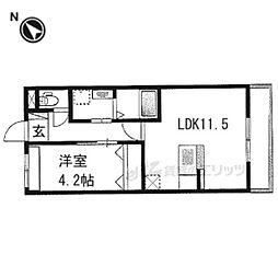 阪急京都本線 西京極駅 徒歩12分の賃貸マンション 2階1LDKの間取り