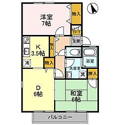 兵庫県姫路市飾磨区今在家3の賃貸アパートの間取り