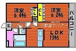 岡山県岡山市東区広谷の賃貸マンションの間取り
