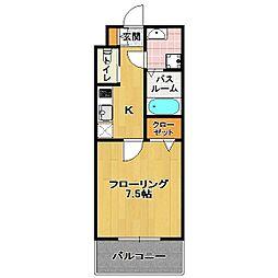 福岡県福岡市中央区平尾1の賃貸マンションの間取り
