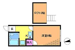 コーポサンケン[2階]の間取り